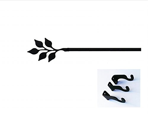Village Wrought Iron 60 Inch Leaf Curtain Rod Med (Leaf Wrought Village Iron)