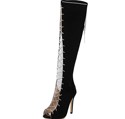 stivali moda 35 della Stivali ginocchio scamosciata Cavaliere signore tacchi trasversale lunghi al e alti pelle Le donne Chain XDGG in nuove w1RnUqE