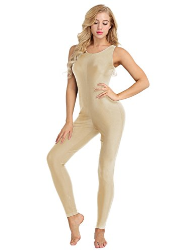 YiZYiF Women Lycra Spandex Sleeveless Nylon Tank Dance Unitard Bodysuit Jumpsuits Nude Small (Gymnastics Jumpsuit)