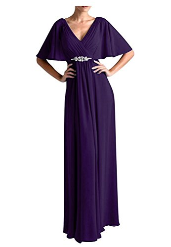 VaniaDress Women V Neck Half Sleeveles Long Evening Dress Formal Gowns V265LF Purple US10 from VaniaDress
