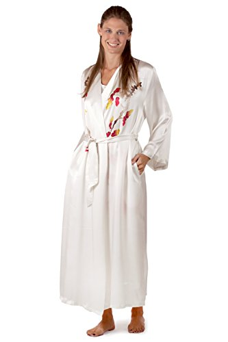Women's Silk Robe - Chrysanthemum (Small/ Medium Petite) Women's Long Silk Robe Sleepwear; Valentine's Day Gift Ideas Gifts for Women Perfect Gift for Sister Daughter Her Great Gift Ideas Gifts Women Something Special for me Gifts Women Her Personal Silk Gifts Presents Ideas WS0101-NWH-SMP