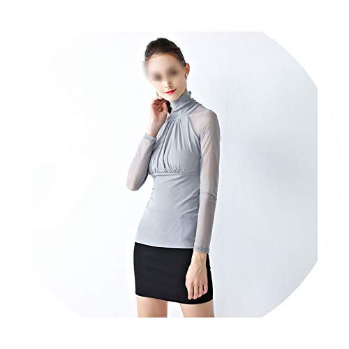 Women Blouses Autumn Sexy See Through Mesh Shirts Long Sleeve Patchwork Blusas Turtleneck Transparent Tops Gray