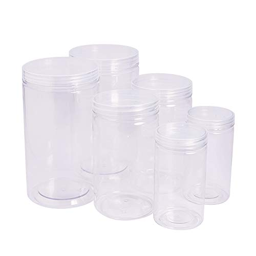 Clear Plastic Cylinders With Lids (BENECREAT 6 Pack Clear Plastic Box for Candy cylinders, Display, Storage, Packaging, organizing and showcasing - 5.9x3.9, 4.7x3.3,)