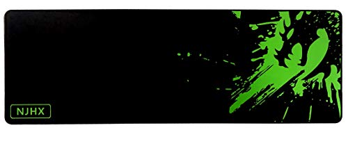 NJHX Large Gaming Mouse Pad(35.4 x11.8 inch 4mm Thick) Green Dragon Extended Mouse Mat with Non-Slip Rubber Base, Keyboard Pad Waterproof Gaming Mouse Mat with Smooth Surface and Stitched Edges