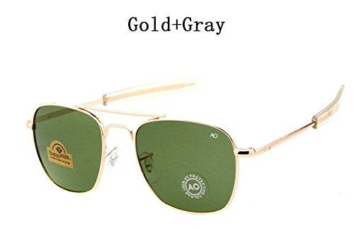 2018 Newest Military AO Brand Sunglasses Men Optical Glass Lens Metal Alloy Frame Pilot Sun Glasses Oculos De Sol Masculino GOLD Gray COLOUR