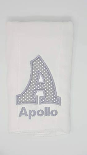 Burp Cloth for Baby Gifts, 100% Organic Cotton, Embroidered with Personalized Monogrammed Name & Initial, Extra Large 20