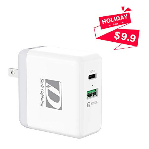 USB C PD Wall Charger + QC 3.0,2 Ports Fast Power Delivery Adapter for Google Pixel 2/2XL, Switch,Samsung S8 and More (White) ...