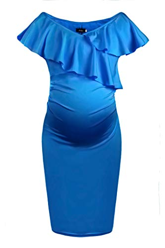 - Dance Fairy Molliya Women's Maternity Bodycon Dress Off Shoulder Ruffles Ruched Sides Knee Length Casual Dress