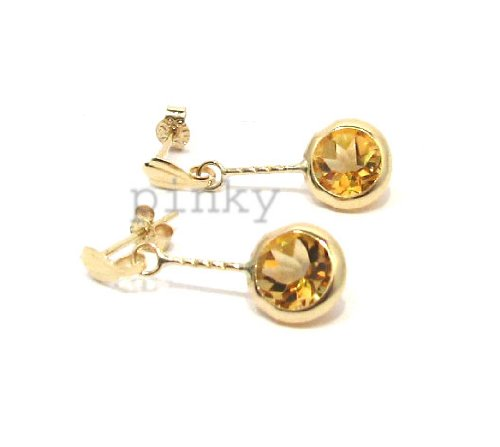 New 9Ct Gold Genuine Round Citrine Medium Dangle Earrings (GD889) GOLD EARRING / Gold Jewellry (MADE IN UK WITH ()