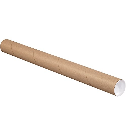 Aviditi P2515K Fibreboard 3-Ply Spiral Wound Mailing Tube with Cap, 15' Length x 2-1/2' Width, Kraft (Case of 34)