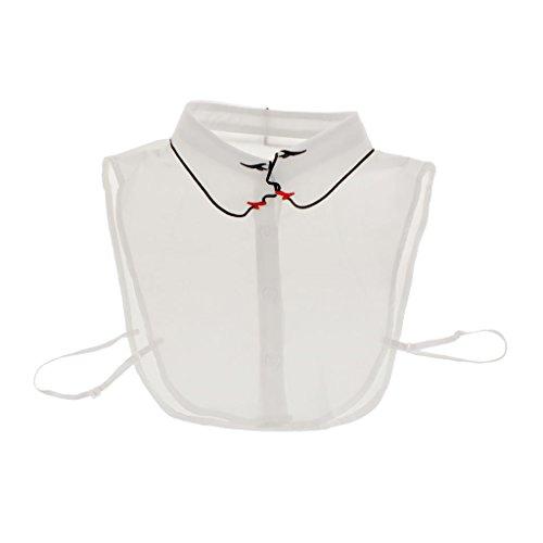 5 Col Gazechimp Demi Faux Col Blanc Femme Chemises Blanc Ornements Coton Amovible de Blouse 5 w4q6pXq