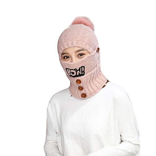Alexsix Women Beanie Scarf Set Knitted Hat Cap Buttons Warm Winter Beanies Boo