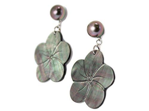"Perle, fleur, nacre Boucle d'oreille Tahitian Toa ""Tiare"" en nacre et perles de Tahiti"