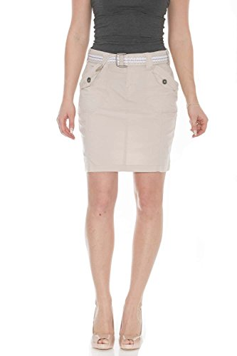 Suko Jeans Poplin Cargo Skirt for Women 57050 Stone 12