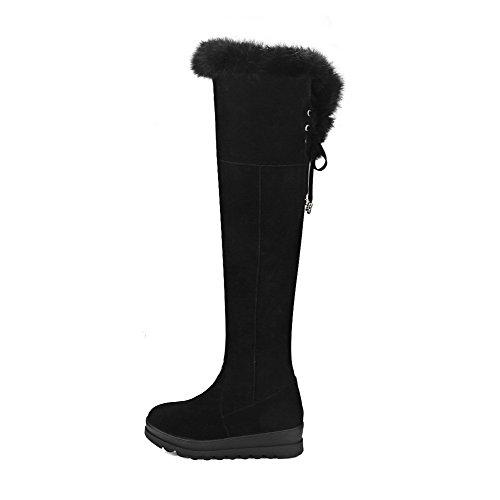 AgooLar Damen Mittler Absatz Hoch-Spitze Ziehen auf Mattglasbirne Rund Zehe Stiefel, Armeegrün, 39