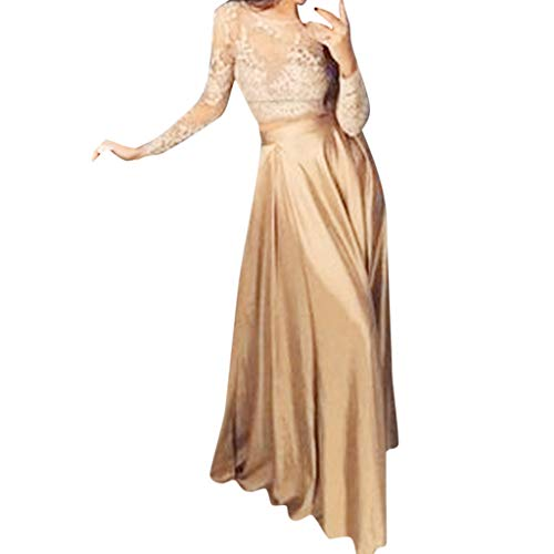 Womens Formal Prom Long Skirl Evening Party Long Maxi Skirt Lace Blouse Set Beige