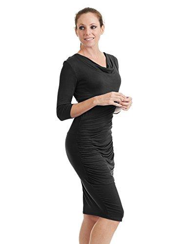 Cowl Sleeve Dress In Black - 5