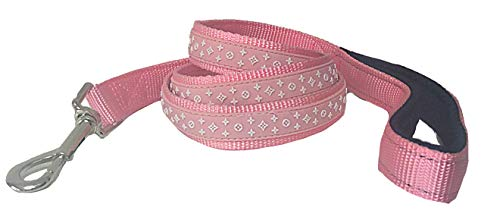 Designer Light Pink Dog Leash Stylish, Cute Yet Strong and Durable Suitable for XS, Small, Medium and Large Breeds (Designer Dog Collar And Leash)