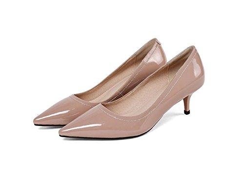 MUYII Taille Moyenne Chaussures De Chaussures Femmes Toe Brevets Des De Travail Pink Cuir Mariage Des Heel Talon Tip En Tribunal De gB6qZgr