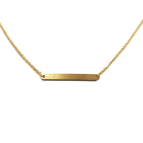 Rounded Bar GOLD Plated Necklace Trendy Dainty Geometric Trendy - Eye Glsses