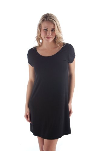 Yala PNS1631 Medium Black Bamboo Dreams Perfect Nightshirt. Cap Sleeves -
