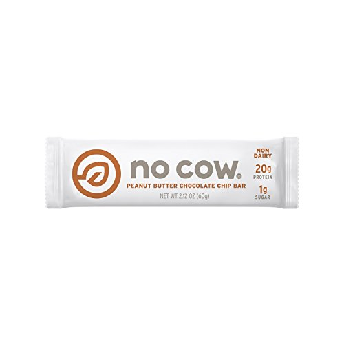 No Cow Protein Bar, Peanut Butter Chocolate Chip, 20g Plant Based Protein, Low Sugar, Dairy Free, Gluten Free, Vegan, 12 Count ( Pack May Vary (Chocolate No Sugar)