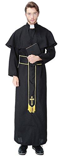 Mumentfienlis Mens Priest Costumes Halloween Cosplay Wear Size M Black