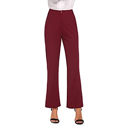 Nice Zeagoo Women's High Waist Wide Leg Pants Solid Colors Casual Work Office Boot Cut Trousers free shipping