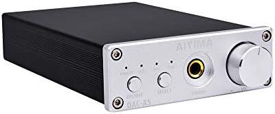 AIYIMA DAC Converter 24BIT 192kHz Digital Audio Converter Stereo Amplifier DAC Headphone Amplifier Decoder for Speaker Home Audio System Silver