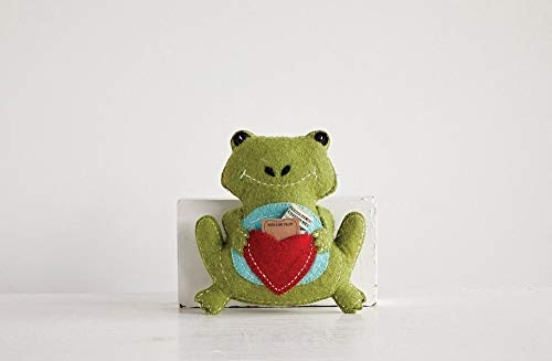 Frog Shaped Kelly Green With Heart Pouch 10 x 11 Wool Tooth Fairy Pillow