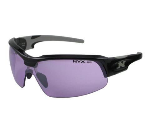 NYX Sport Vision PRO Z-17 Series Sunglass with Z87.1 Safety Rating, Black-Gray Frame/Medium Purple Safety Lens, Medium