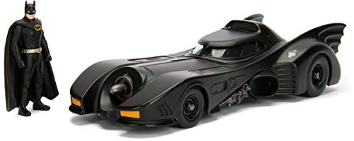 Jada Dc Comic 1989 Batmobile with 2.75' Batman Metals Diecast Vehicle with Figure, Black