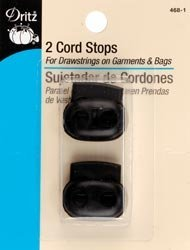 Dritz Bulk Buy Double Cord Stops for 1/8 inch Cord 2 Pack Black 468-1 (6-Pack) by Dritz