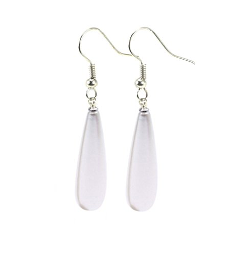 Sterling Silver White 7-8mm Oval White Freshwater Pearl Dangle Earrings Dotted with Zircons