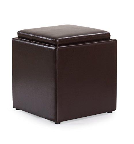joyven pu leather storage ottoman foot rest stool seat