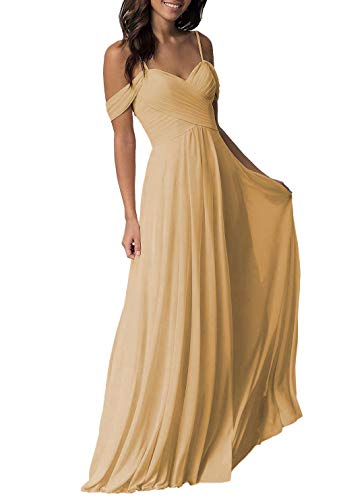 Long Cold Shoulder Pleated Chiffon Wedding Bridesmaid Dresses B005