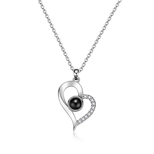 (Jetloter I Love You Heart Shaped Necklace, 100 Languages Projection on Round Onyx Pendant Collarbone Necklace Silver)