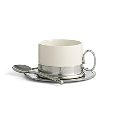Arte Italica Tuscan Cappuccino Cup & Saucer with Spoon, White