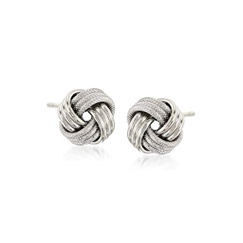 Ross-Simons 14kt White Gold Textured and Polished Love Knot Stud Earrings