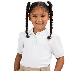 French Toast Girls' Short Sleeve Pique Stretch Polo (White 10)