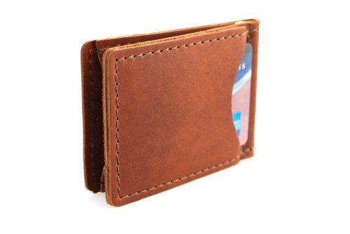 Rustico Handmade - Rustic Leather Money Clip, Saddle Brown (Clip Rustic Money)
