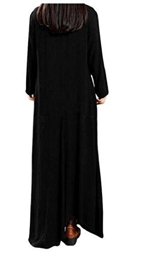 Casuale Tendenza Vestito Maxi Nero Coolred Donna Formato Il Solido Del Più Manica Lunga TvqZ0Fw0P