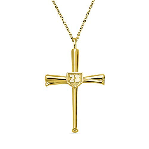 AILIN Cross Necklace Baseball Bats Athletes Cross Pendant Sports Number Or Initial Necklaces Gifts for Men Women Teen Boys Girls Gold Plated Size 16