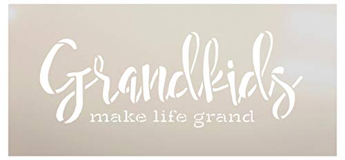 Grandkids Make Life Grand Stencil by StudioR12   Word Stencil - Reusable Mylar Template   Paint with - Acrylic- Chalk - Mixed Media   Mothers Day Gift - DIY Home Living Decor - Choose Size (16