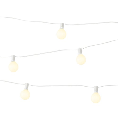 LampLust Bistro Globe String Lights - Outdoor Indoor, Mini G9 White Bulbs, 28 Ft. White Wire, Commercial Grade, Connectable, Plugin - UL Listed by LampLust