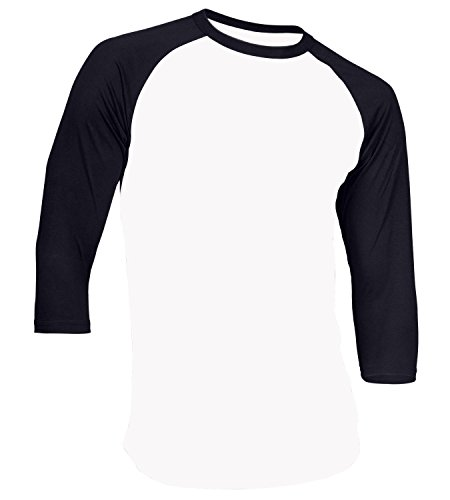 Dream USA Men's Casual 3/4 Sleeve Baseball Tshirt Raglan Jersey Shirt Light White & Navy Blue Large -