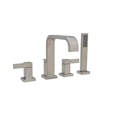 Mirabelle Rigi Deck Mounted Roman Tub Filler with Integrated Diverter and Personal Hand Shower