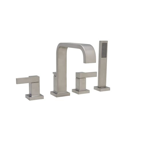 Mirabelle MIRRI4RT Rigi Deck Mounted Roman Tub Faucet with Integrated Diverter a, Brushed Nickel (Deck Mounted Diverter)