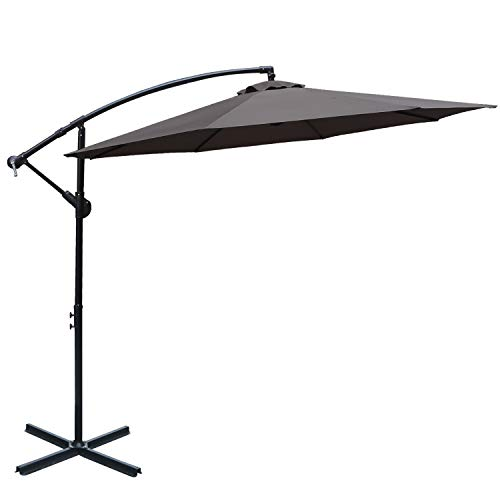 ABCCANOPY 10 FT Hanging Umbrella Cantilever Umbrella Offset Patio Umbrella Outdoor Market Umbrella Easy Open Lift 360 Degree Rotation (Tan)
