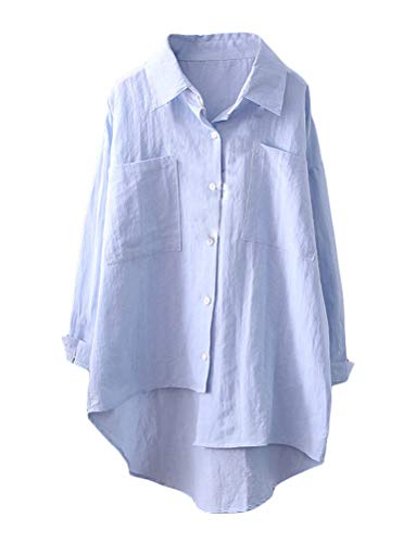 Mordenmiss Women's Linen Shirt Blouse Casual Button-Down Hi-Low Tunic Tops (M, Style 2-Sky Blue)